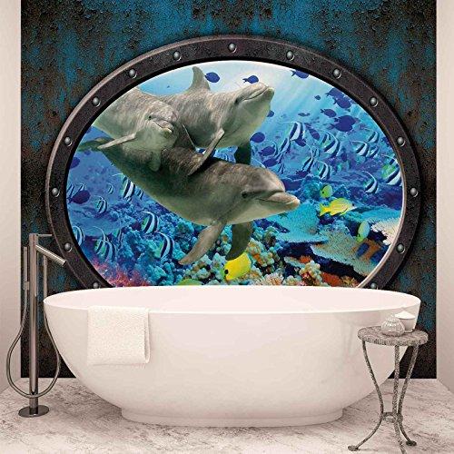 Fenster Delfine Korallen Ozean - Forwall - Fototapete - Tapete - Fotomural - Mural Wandbild - (3195WM) - XXL - 312cm x 219cm - VLIES (EasyInstall) - 3 Pieces