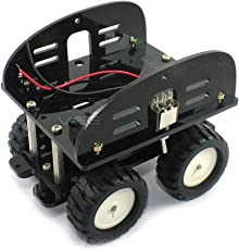 Four Wheel Drive - N20 Metal Gear Motors - Black Acrylic Chassis for 4 inch Robot - Arduino Compatible