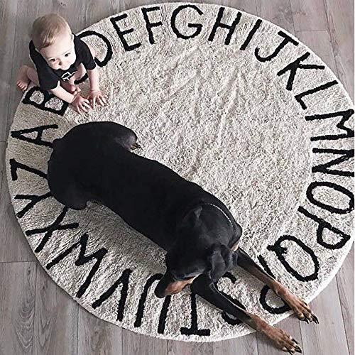 MDD Wohnkultur Kreative Teppich Teppiche/Matten Nordischen Stil Brief Baumwolle Baby Krabbeldecke Schlafzimmer Bett Faser Teppich,Durchmesser 120CM -