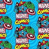 Springs Creative Marvel Fleece-Stoff - Marvel Comic Blue -