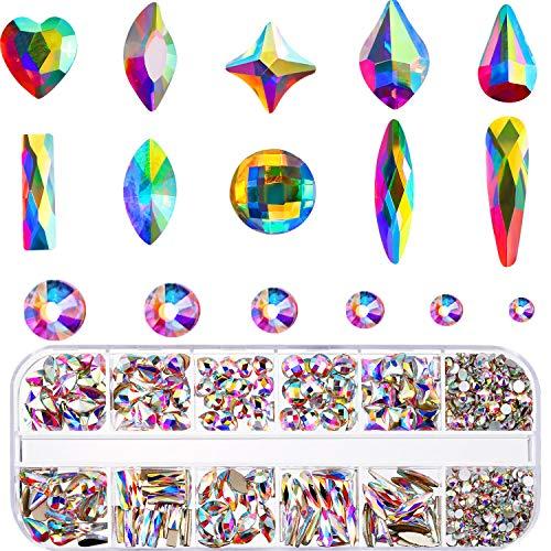 Nagel Kristalle AB Strasssteine mit Flache Rückseite Gemischt Nagel Diamant Stein für Nagel Kunst Kleidung Schuhe Taschen Kunsthandwerk (240 und 1728 Mischungsform)