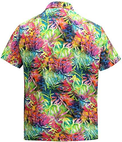 La Leela Vintage Blatt Beiläufig Hawaiische Knopf Unten Aloha Shirt Mehrfarben Männer Mehrfarbig