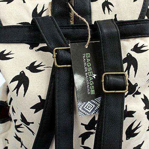 Bag2Bag ,  Mädchen Unisex Kinder Damen Unisex Erwachsene Rucksackhandtaschen Black Swallows - 3 pockets