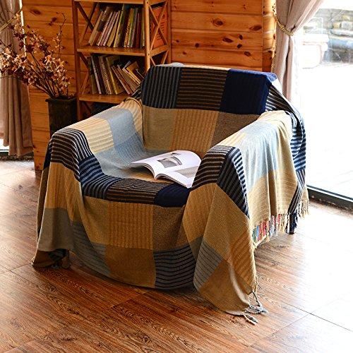 XYSFT Chenille Jacquard Quasten Überwurf Decke Sofa Stuhl Bezug Tischdecke Sofa dekorativer Überwurf-Decke, blau, 150*190 single sofa