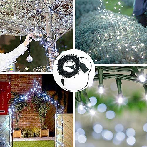 100-LED-Guirlande-lumineuse-IP44-Etanche-blanc-froid-8M-Lumires-friques-pr-Fte-de-Nol-Jardin-Chambre-Terrasse-Prise-UE-Fil-de-cuivre-enduit-de-PVC-vert-fonc-impermable