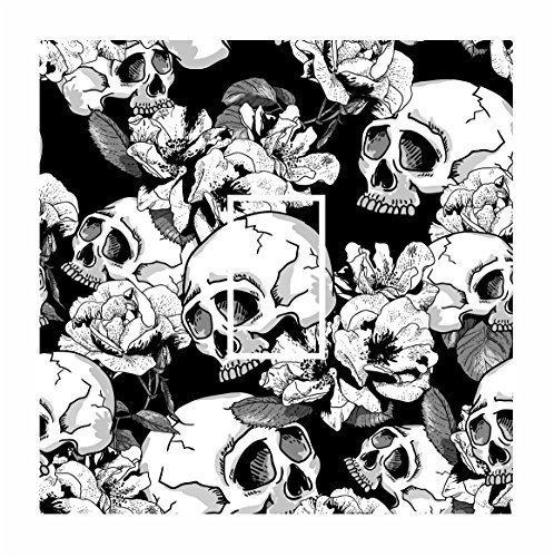 Sticar-it Ltd Black amp; White Gothic Skull amp; Rose Pattern Light Switch Sticker vinyl cover skin decal For Any Room