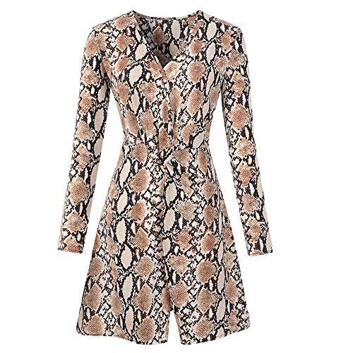 MYMYG Damen V-Ausschnitt Leopard Print Kleid Schlange Print Kleid Damen Langarm Party Minikleid Abendkleid Party Kleid Elegante Kleider Winter Einfarbig Cocktailkleider (Kostüm Leopard Snow)