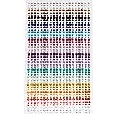 900 Pezzi Adesivo Strass, borte 3mm 4mm 5mm Colorful Strass autoadesivi Rotondi Gemme di Cristallo Foglio per Artigianato FAI DA TE Decorazione