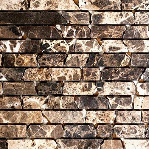 Brick-mosaik-fliesen-böden (Mosaik Fliese Marmor Naturstein Brick Impala braun geflammt für BODEN WAND BAD WC DUSCHE KÜCHE FLIESENSPIEGEL THEKENVERKLEIDUNG BADEWANNENVERKLEIDUNG Mosaikmatte Mosaikplatte)