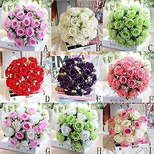 Floral de artificial Romance en las manos Yesmile 18Head Artificial Flores de rosas de seda Ramo de novia rosa…