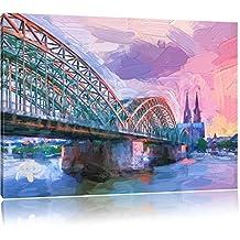 prächtige Hohenzollern Brücke mit Kölner Dom Format: 60x40 auf Leinwand, XXL riesige Bilder fertig gerahmt mit Keilrahmen, Kunstdruck auf Wandbild mit Rahmen, günstiger als Gemälde oder Ölbild, kein Poster oder Plakat