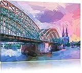 prächtige Hohenzollern Brücke mit Kölner Dom Format: 120x80 auf Leinwand, XXL riesige Bilder fertig gerahmt mit Keilrahmen, Kunstdruck auf Wandbild mit Rahmen, günstiger als Gemälde oder Ölbild, kein Poster oder Plakat