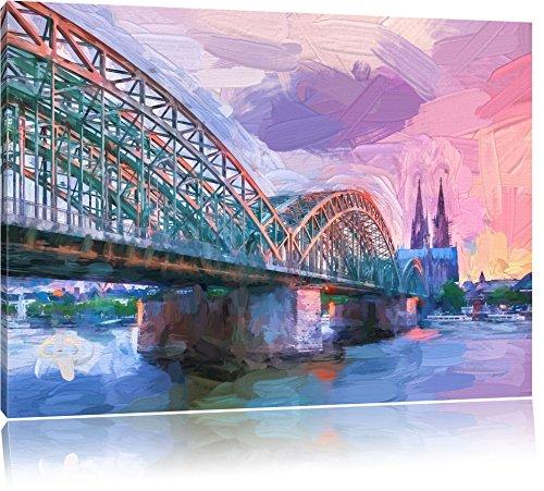 prächtige Hohenzollern Brücke mit Kölner Dom Format: 100x70 auf Leinwand, XXL riesige Bilder fertig gerahmt mit Keilrahmen, Kunstdruck auf Wandbild mit Rahmen, günstiger als Gemälde oder Ölbild, kein Poster oder Plakat