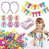 Kit di creazione di Gioielli per Bambini - (350+ Pezzi) Set di Perline Pop educativo Giocattoli Regali per Ragazze età 4-8 Anni, Collana & Bracciale e Squillare DIY Set