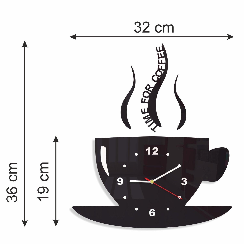 FLEXISTYLE Orologio da Parete da Cucina Tazza LA TAZZINA Nera Silenzioso  Moderno per Bar 3 d Decorativo