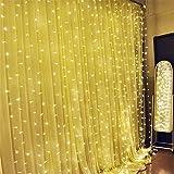 SOLMORE 3Mx3M Rideau Lumineux 300 LED 8 Modes Guirlande Lumineuse Déco Ambiance Noël Mariage Soirée Anniversaire Fête Vitrine Fenêtre Cour Balcon Maison Boutique Restaurant Hôtel Bar Intérieur Extérieur 220V (Blanc Chaud)