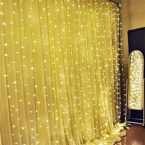 SOLMORE 3M x 3M 300 LED Tenda Luminoso Luci Stringa Fata Luci Della Tenda 8 Modalità String Luce Festival Decorazione di Feste/ Anniversario/ Cerimonia/ Matrimonio/ Sera Bianco Caldo