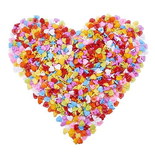 Kostüm Shank 2 - NBEADS 1000Pcs Acryl 12mm Lovely Herz Schaft Tasten Für Kostüm Design, 51032173, Gemischte Farbe, 12X 12X 2mm, Loch: 3mm