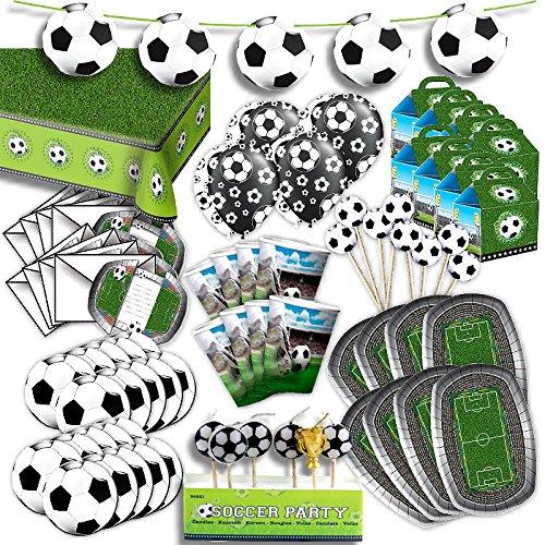 Preisvergleich Produktbild Fußball Komplett Party Set für 8 Gäste XL 84-teilig hier ist alles drin Fussball Deko Party