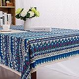 Pingenaneer Leinen Tischdecke Böhmischer Stil mit Spitzen Schmutzabweisend Waschbar Tischtuch für Küche, Esszimmer, Garten, Balkon oder Camping - 60*60cm