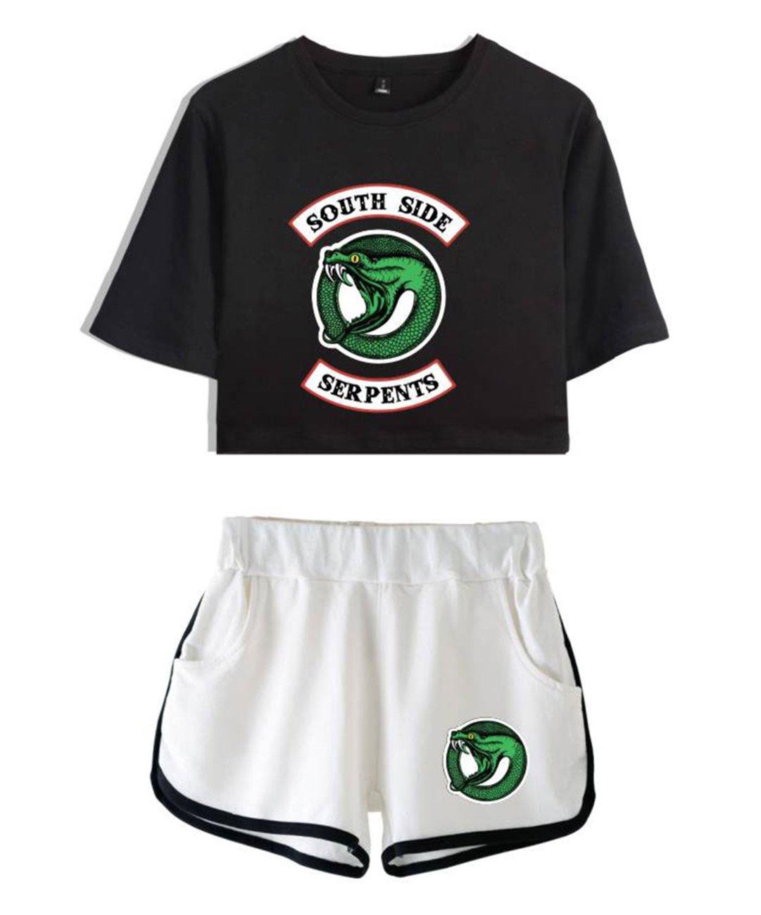 ZIGJOY Riverdale Crop Top T-Shirts and Shorts Traje de Ropa para niñas y Mujeres