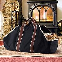 Bolsa de lona al aire libre, bolsa de almacenamiento de leña, bolsa de almacenamiento, bolsa, bolsa, almacenamiento de gran capacidad, negro