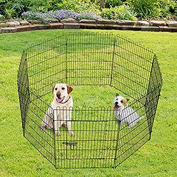 Parc enclos pour chiens chiots animaux domestiques diamètre 158 cm 8 panneaux 71L x 91H cm noir 29