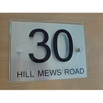 7df5c18afda3 Premier Quality,Glass Look Acrylic Personalised House number Sign | 10 Year  Guarantee | 2 Part Acrylic