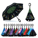 #2: Density Collection Double Layer Inverted Umbrella Inside Out Umbrella Cars Reverse Windproof Umbrella ☂ Large Stick Umbrella ☂ with C-Shaped Handle☂☂☂,Multi Design