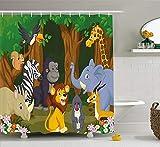 Animal Decor Shower Curtain, Cartoon Style Elephant Gazelle Giraffe Gorilla Lion Illustration, Fabric Bathroom Decor Set with Hooks, 60W X 72L Inche, Brown and Fern Green