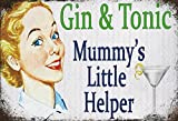 ComCard Gin & Tonic - Mummys Little Helper lustige Schild aus Blech, metallsign, Tin