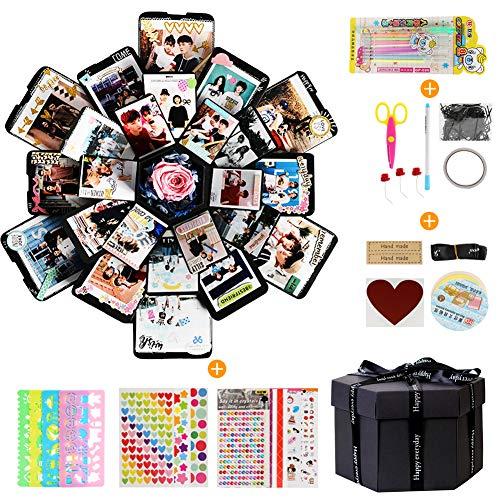 LEADSTAR Kreative Überraschung Box Explosions Box Geschenk-Box Scrapbook DIY Faltendes Fotoalbum mit 6 Gesichtern Geschenkbox Geschenk für Geburtstag Jahrestag Valentine Hochzeit Muttertag Weihnachten -