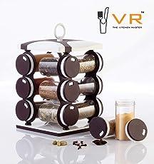 VR Premium Multipurpose Revolving Plastic Spice Rack 12 Piece Condiment Set, 130ml (Dark Brown)
