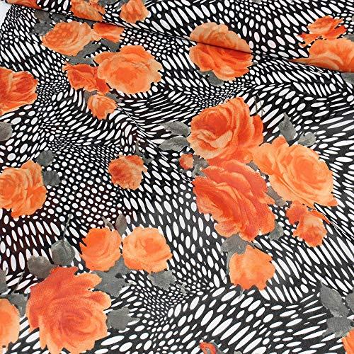 Rose Georgette (kawenSTOFFE Crepe Georgette Schwarz Weiß Blumenprint Designerware Kunstseide Blusenstoff)