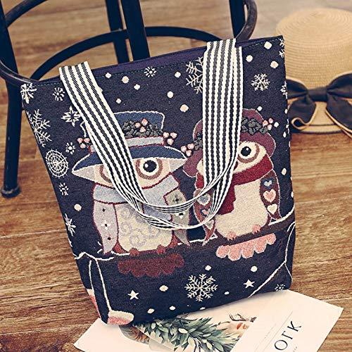 (SAOGA Frauen Tasche Flut Eule literarische One-Shoulder-Bulk Tote Bag Canvas Handtasche Big Bag weiblich, weißen Kopf zur Alten Eule)