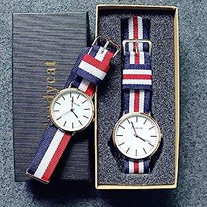 Carriea 1pcs Uhr für Herren Damen Armbanduhr mit Nylon NATO-Armband Quarz