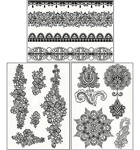 ChicTats Tatouages temporaires - Set de 3 planches - Body Art & Bijoux brillants pour Filles & Femme - Body Make-up/Autocollants/Tatouages imperméables chic