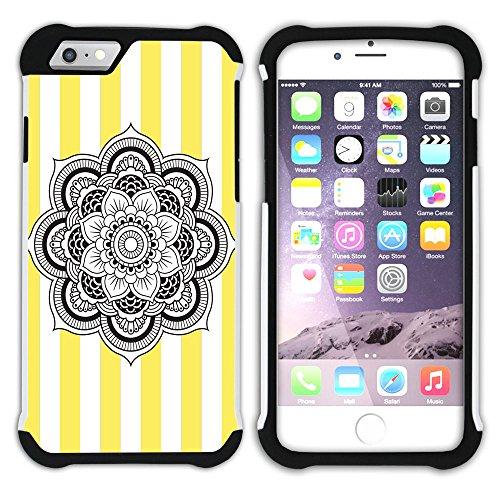 Graphic4You Mandala Blume Streifenmuster (Lila) Hart + Weiche Kratzfeste Hülle Case Schale Tasche Schutzhülle für Apple iPhone 6 Plus / 6S Plus Gelb