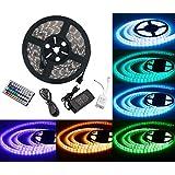 LED ruban Bande LED Lumineuse - Duractron Ruban à LED Etanche (5m) 5050 RGB SMD Multicolore 300 LEDs 60W, avec Télécommande à Infrarouge 44 Touches et Alimentation 2A 12V