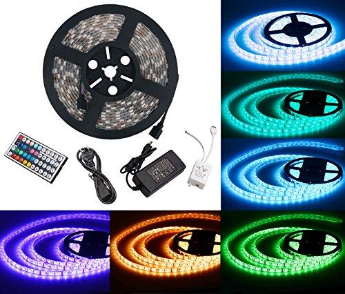 Duractron LED Striscia 5M RGB 5050 12V 300 SMD Impermeabile Flessibile Adesivo + 44 Tasti Telecomando + Alimentatore