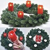 PROHEIM Weihnachts-Kranz Ø 45 cm Voll-PE Tannen-Kranz inkl. 4 roten LED Echtwachskerzen schwer entflammbarer Deko-Kranz B1-Zertifiziert