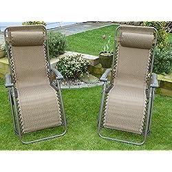 UK-Gardens Juego de 2 tumbonas reclinables para jardín, color marrón, impermeables, plegables y multiposición con reposacabezas
