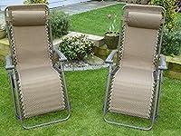 SET OF 2 Brown Multi Position Garden Sun Lounger Relaxer Chair