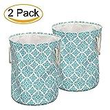 LinTimes Wäschekorb, Ultra Dicke Große Wäschesammler, Faltbare Baumwolle Leinen Zusammenklappbare Ablagekorb, Packung mit 2 (Hellblaue Blume)