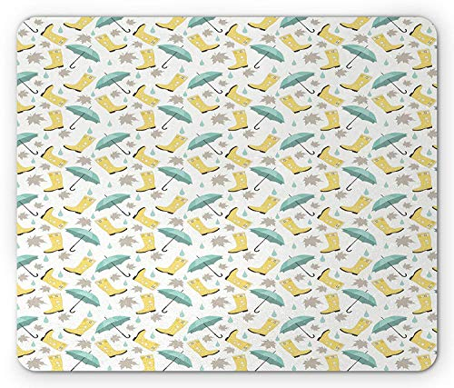 Autumn Mouse Pad, Fall Season Rubber Boots Umbrellas with Leaf Silhouettes Pattern Gaming Mousepad Office Mouse Mat Yellow Beige and Mint Green