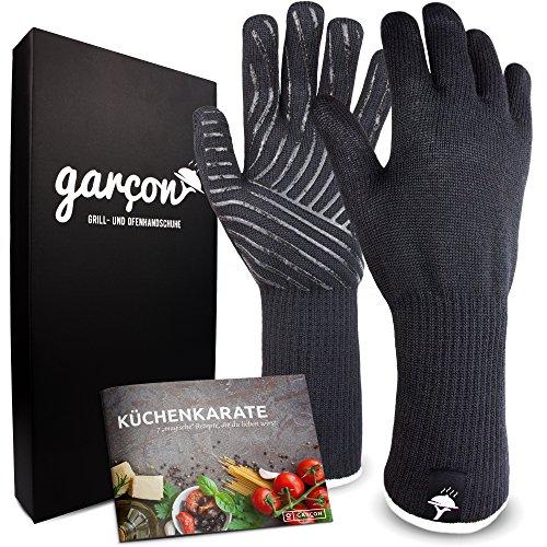 GARCON Grillhandschuhe hitzebeständig bis zu 500 °C I 36cm extra lange Ofenhandschuhe mit Unterarmschutz I feuerfeste Handschuhe zum Grillen, Kochen oder Backen in flexibler Einheitsgröße