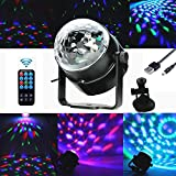 K-Bright USB Powered LED Party Lights AC 85-265V Color Changing Mini RGB Crystal Magic Ball Lights Sound Activated Remote Control LED Stage Light for Party Car Xmas KTV Wedding Show Club Pub Disco DJ Light
