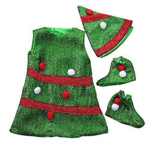 Outfit Natale Set,Kword Bambino Bambini Bambine Natale Vestiti Costume Partito Abiti + Cappello + Calzini Vestito Merry Christmas Costume Di Natale Dell'Albero Di Ballo (4-5 anni)