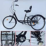 SENDERPICK 24' Speed Erwachsener 3 Raddreirad Schwarz, Erwachsene Fahrrad Radfahren Pedal Bike mit Weißer Korb für Outdoor Sports Shopping Einstellbar