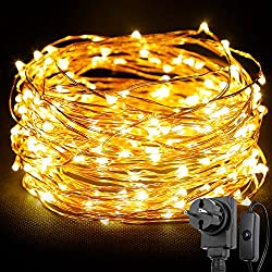 LE Stringa luminosa 20m, 200 LED in Rame Impermeabile e Immergibile IP65 Modellabile Bianco Caldo Per decorazioni Feste Alberi di Natale San Valentino